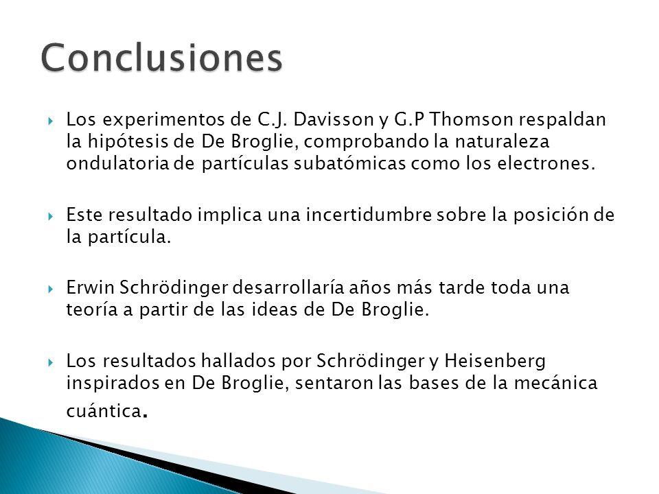 Los experimentos de C.J. Davisson y G.P Thomson respaldan la hipótesis de De Broglie, comprobando la naturaleza ondulatoria de partículas subatómicas