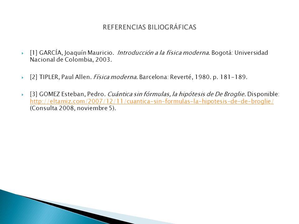 [1] GARCÍA, Joaquín Mauricio. Introducción a la física moderna. Bogotá: Universidad Nacional de Colombia, 2003. [2] TIPLER, Paul Allen. Física moderna