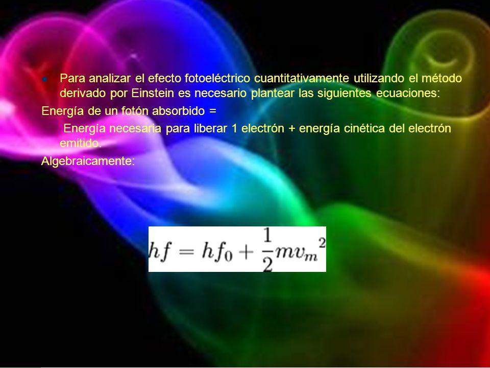 Para analizar el efecto fotoeléctrico cuantitativamente utilizando el método derivado por Einstein es necesario plantear las siguientes ecuaciones: En
