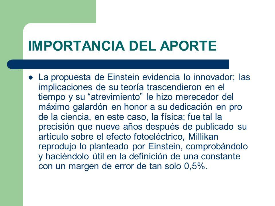 IMPORTANCIA DEL APORTE La propuesta de Einstein evidencia lo innovador; las implicaciones de su teoría trascendieron en el tiempo y su atrevimiento le