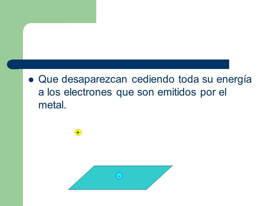 Que desaparezcan cediendo toda su energía a los electrones que son emitidos por el metal. + -