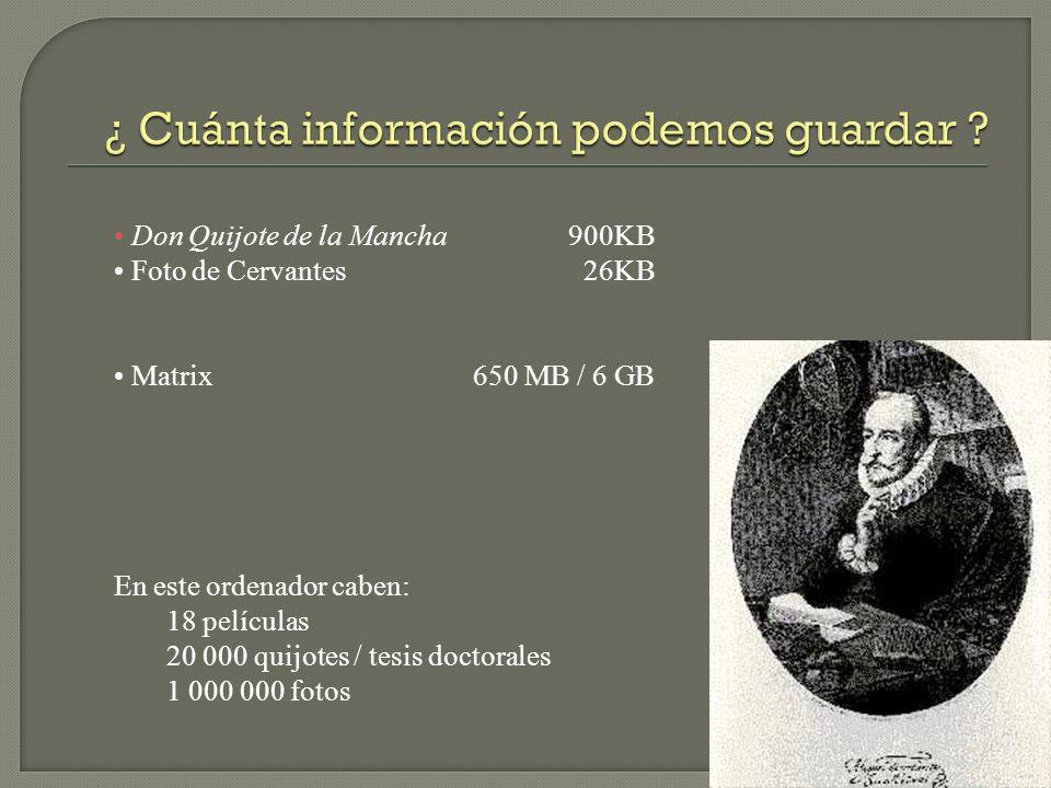 Don Quijote de la Mancha 900KB Foto de Cervantes 26KB Matrix 650 MB / 6 GB En este ordenador caben: 18 películas 20 000 quijotes / tesis doctorales 1