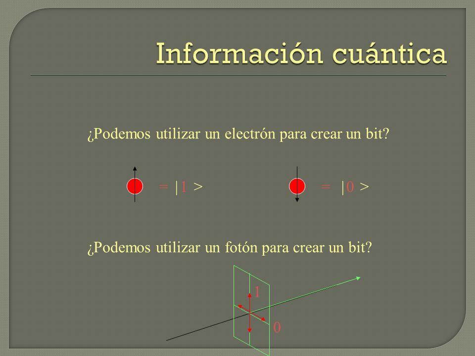 ¿Podemos utilizar un electrón para crear un bit? ¿Podemos utilizar un fotón para crear un bit? = 0= 1 1 0 | >