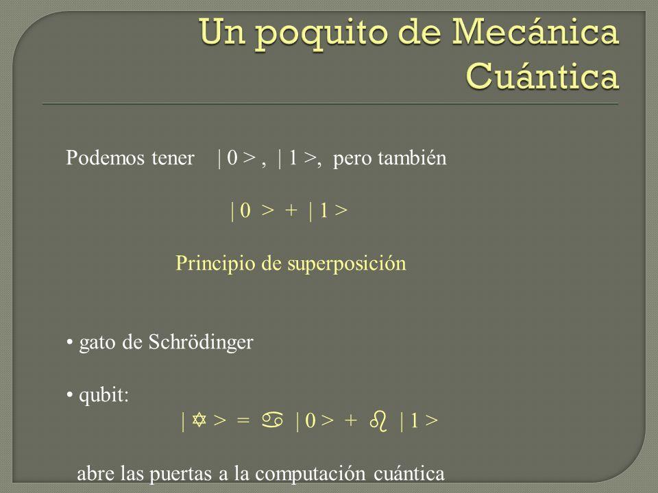 Podemos tener | 0 >, | 1 >, pero también | 0 > + | 1 > Principio de superposición gato de Schrödinger qubit: | > = | 0 > + | 1 > abre las puertas a la