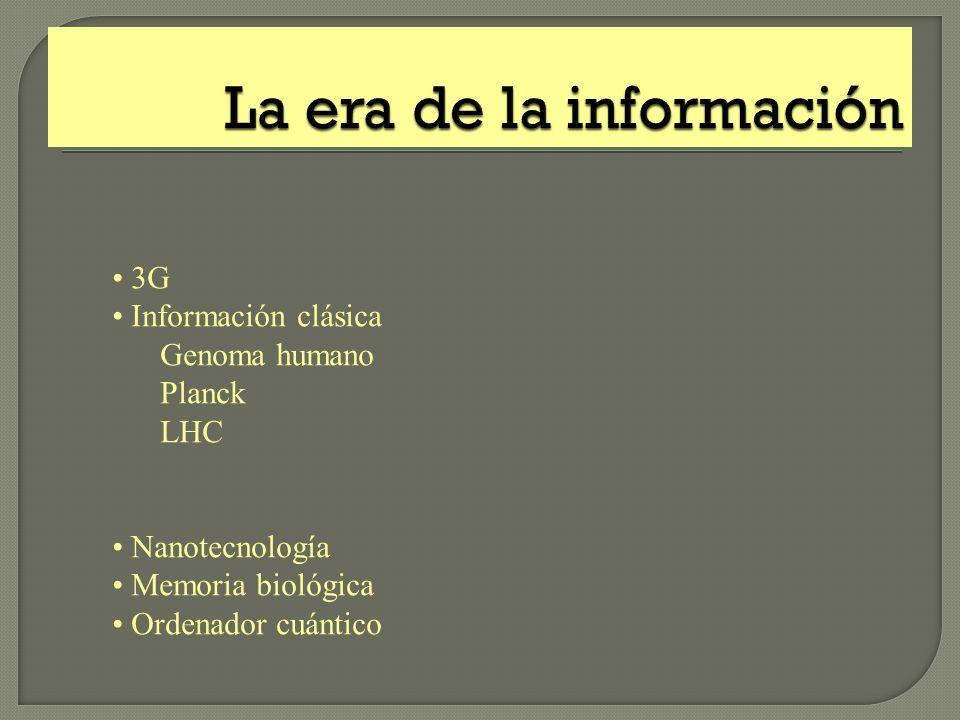 3G Información clásica Genoma humano Planck LHC Nanotecnología Memoria biológica Ordenador cuántico