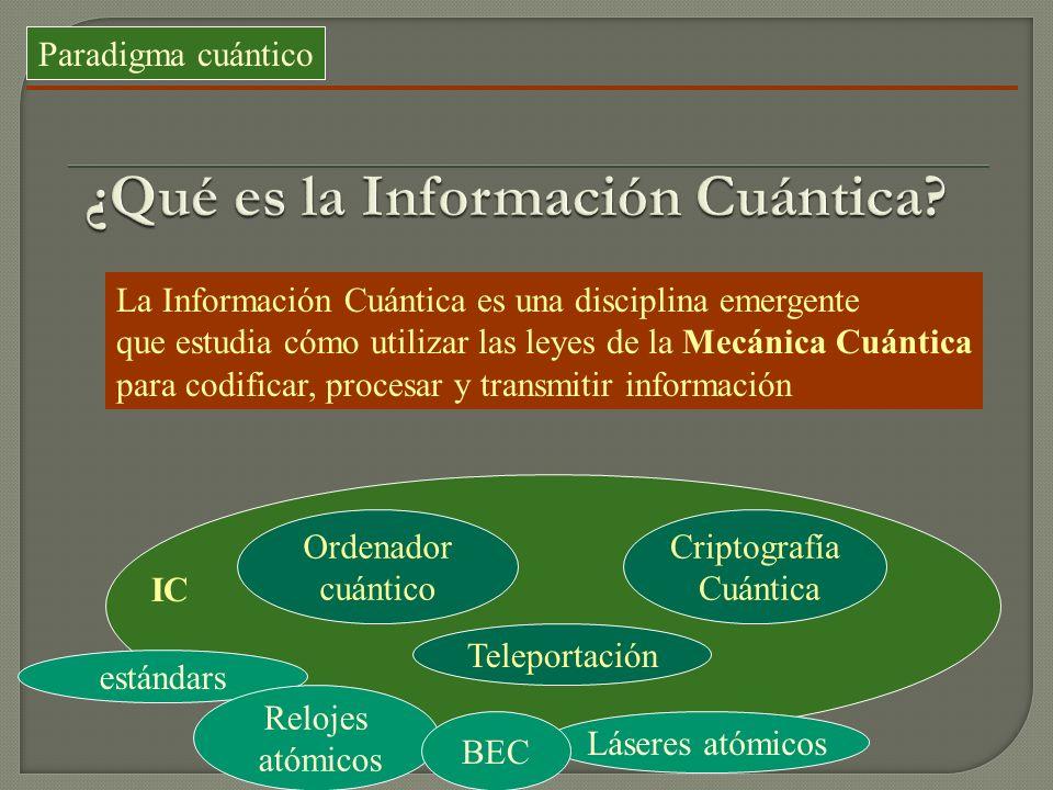Paradigma cuántico La Información Cuántica es una disciplina emergente que estudia cómo utilizar las leyes de la Mecánica Cuántica para codificar, pro