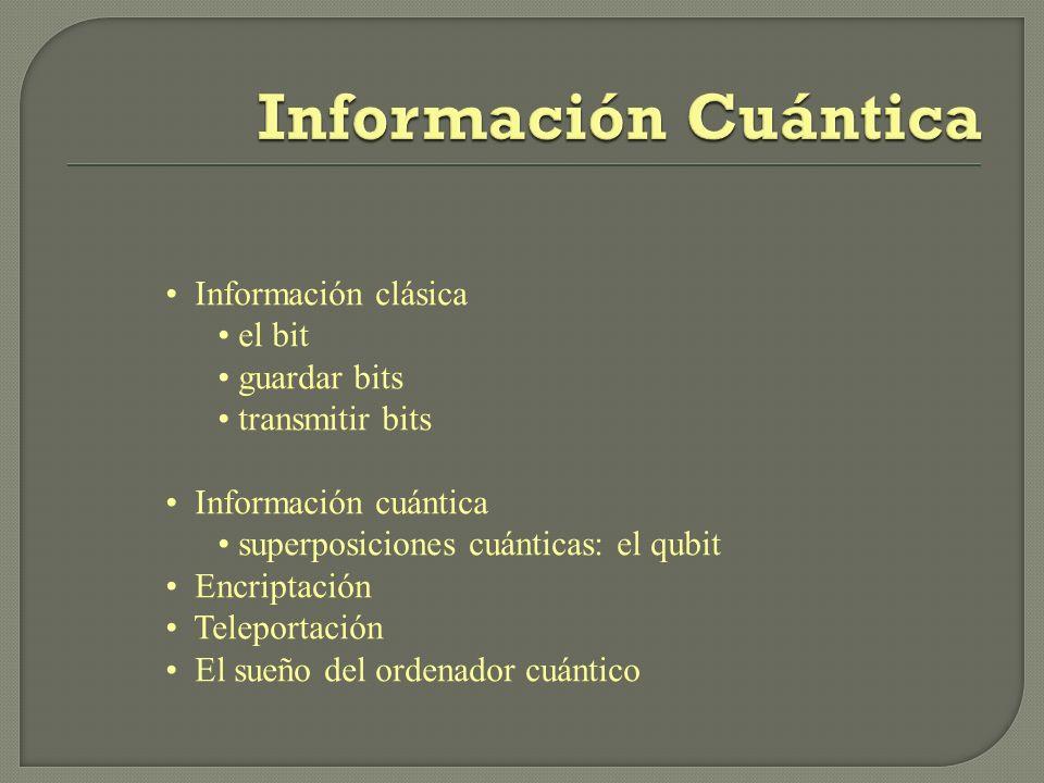 Información clásica el bit guardar bits transmitir bits Información cuántica superposiciones cuánticas: el qubit Encriptación Teleportación El sueño d