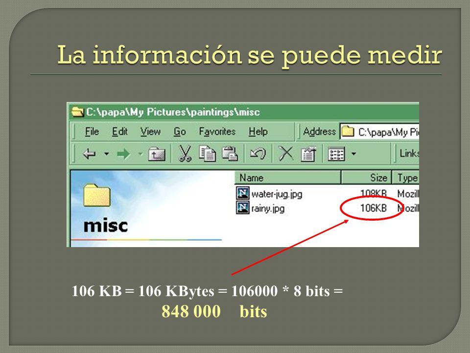106 KB = 106 KBytes = 106000 * 8 bits = 848 000 bits