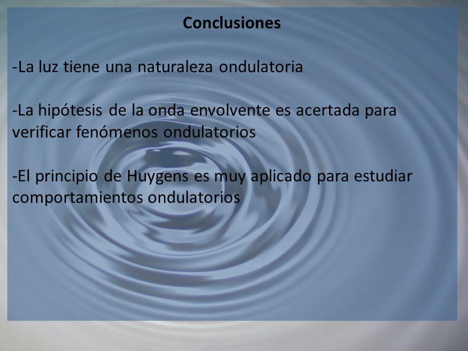Conclusiones -La luz tiene una naturaleza ondulatoria -La hipótesis de la onda envolvente es acertada para verificar fenómenos ondulatorios -El princi