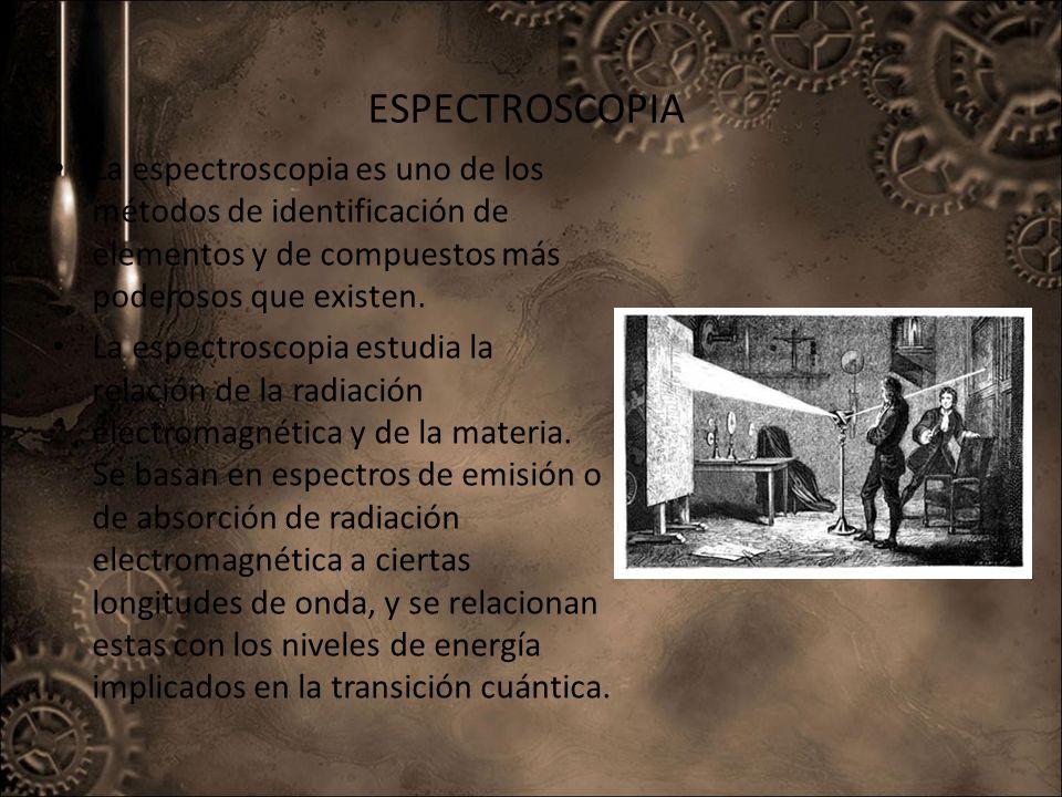 ESPECTROSCOPIA La espectroscopia es uno de los métodos de identificación de elementos y de compuestos más poderosos que existen. La espectroscopia est