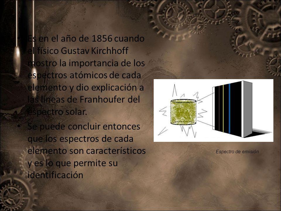 Es en el año de 1856 cuando el físico Gustav Kirchhoff mostro la importancia de los espectros atómicos de cada elemento y dio explicación a las líneas