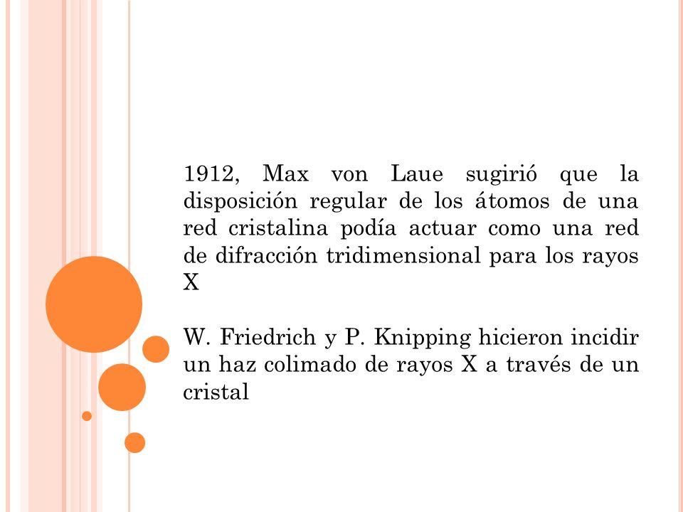 1912, Max von Laue sugirió que la disposición regular de los átomos de una red cristalina podía actuar como una red de difracción tridimensional para los rayos X W.