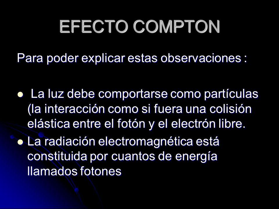 Para poder explicar estas observaciones : La luz debe comportarse como partículas (la interacción como si fuera una colisión elástica entre el fotón y