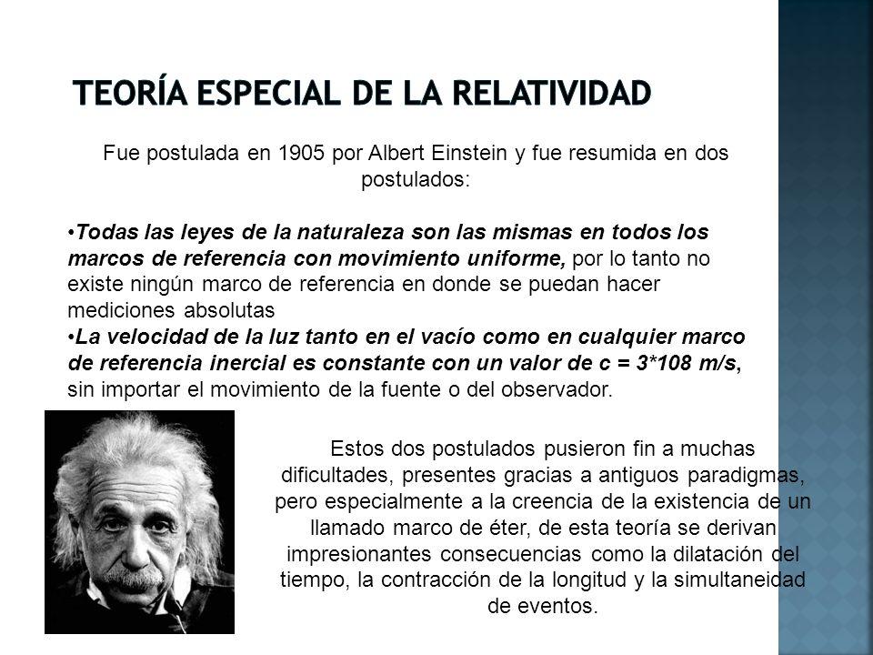 Fue postulada en 1905 por Albert Einstein y fue resumida en dos postulados: Todas las leyes de la naturaleza son las mismas en todos los marcos de ref
