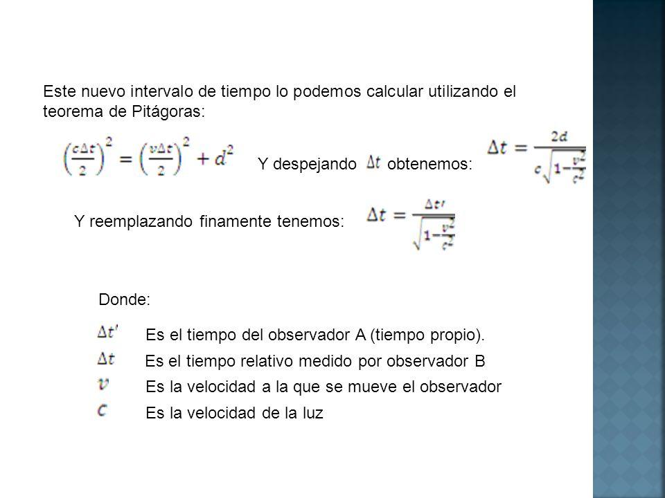 Este nuevo intervalo de tiempo lo podemos calcular utilizando el teorema de Pitágoras: Y despejando obtenemos: Y reemplazando finamente tenemos: Donde