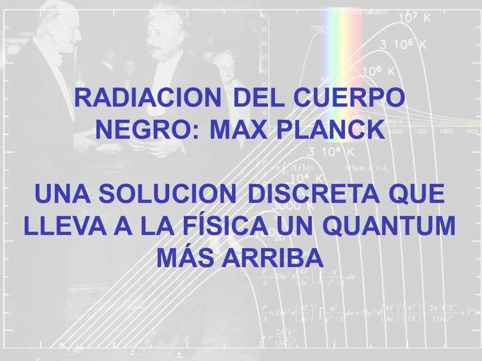RADIACION DEL CUERPO NEGRO: MAX PLANCK UNA SOLUCION DISCRETA QUE LLEVA A LA FÍSICA UN QUANTUM MÁS ARRIBA