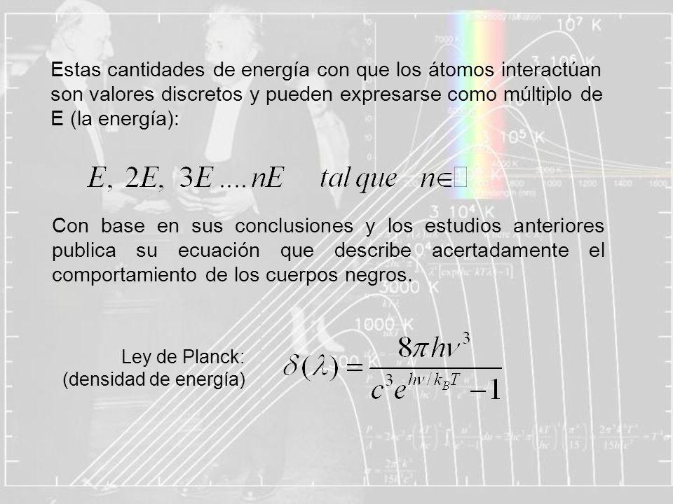 Estas cantidades de energía con que los átomos interactúan son valores discretos y pueden expresarse como múltiplo de E (la energía): Con base en sus