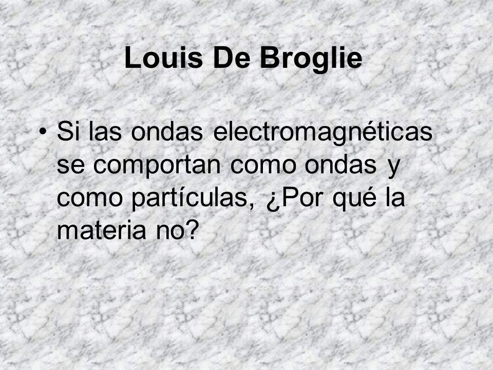 Louis De Broglie Si las ondas electromagnéticas se comportan como ondas y como partículas, ¿Por qué la materia no?
