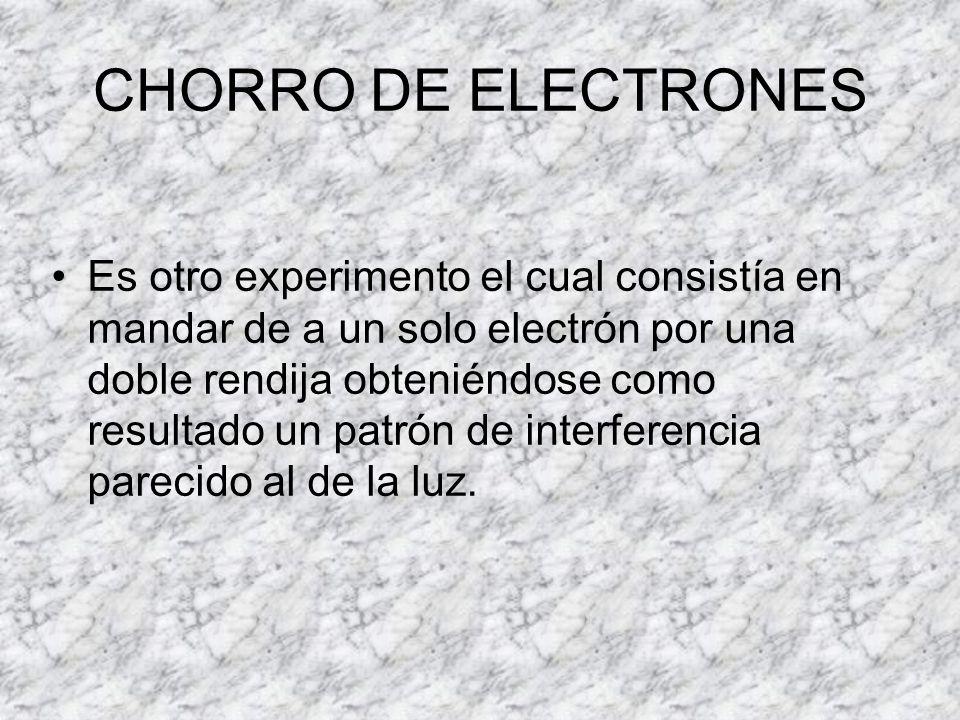 CHORRO DE ELECTRONES Es otro experimento el cual consistía en mandar de a un solo electrón por una doble rendija obteniéndose como resultado un patrón