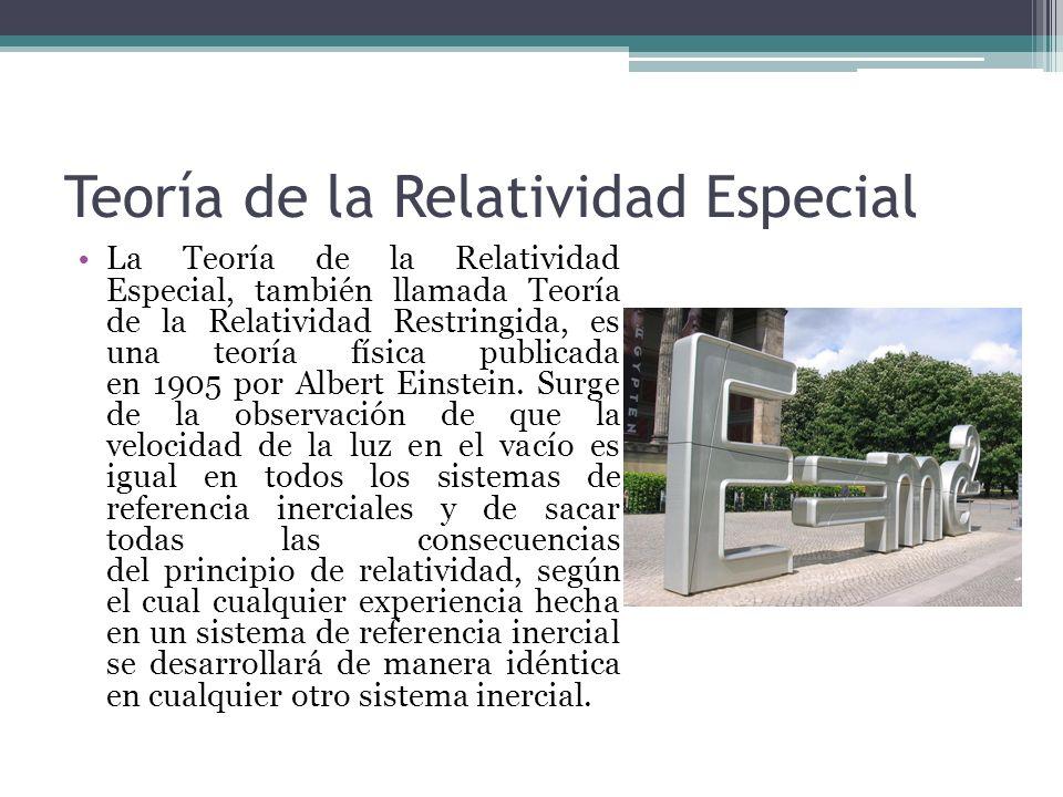 Teoría de la Relatividad Especial La Teoría de la Relatividad Especial, también llamada Teoría de la Relatividad Restringida, es una teoría física pub