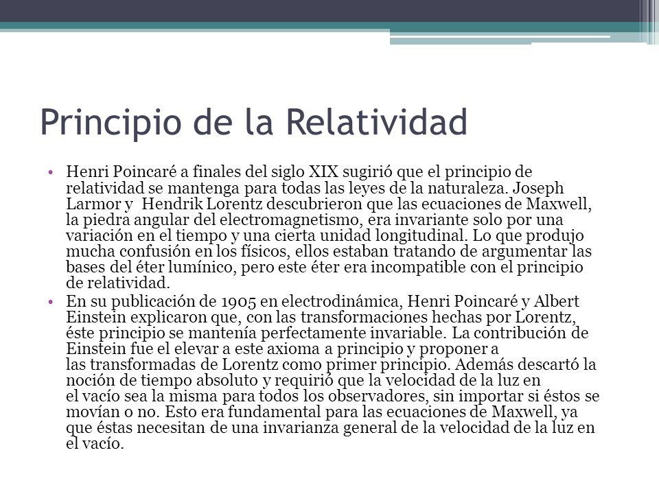 Principio de la Relatividad Henri Poincaré a finales del siglo XIX sugirió que el principio de relatividad se mantenga para todas las leyes de la natu