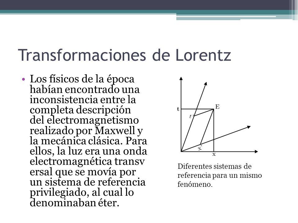 Transformaciones de Lorentz Los físicos de la época habían encontrado una inconsistencia entre la completa descripción del electromagnetismo realizado