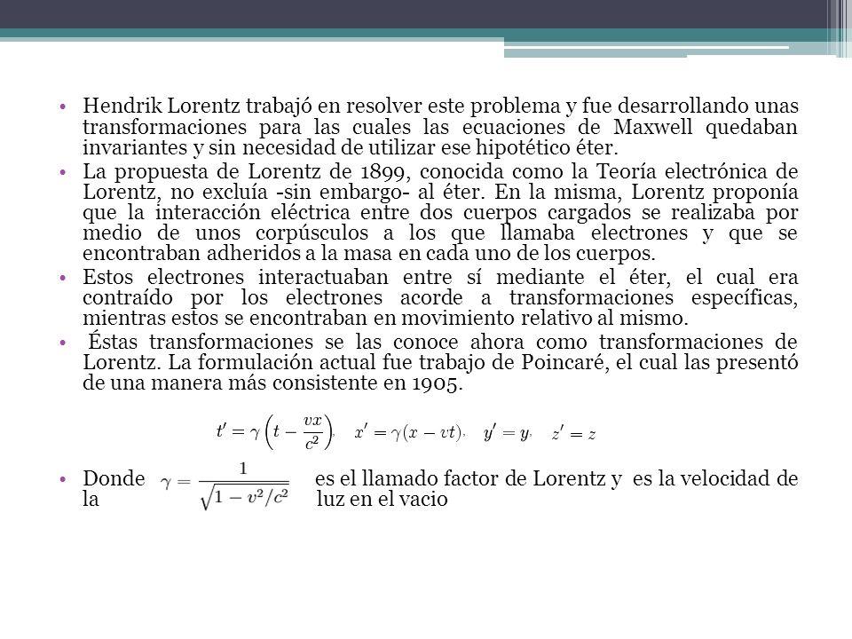 Hendrik Lorentz trabajó en resolver este problema y fue desarrollando unas transformaciones para las cuales las ecuaciones de Maxwell quedaban invaria