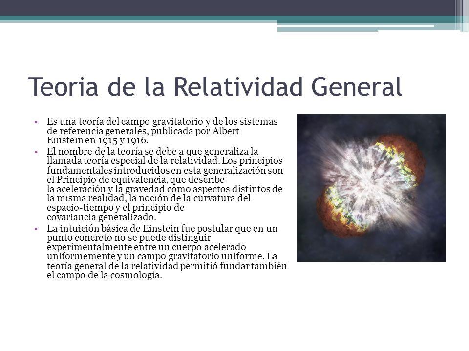 Teoria de la Relatividad General Es una teoría del campo gravitatorio y de los sistemas de referencia generales, publicada por Albert Einstein en 1915