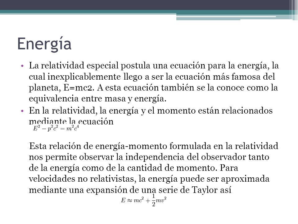 Energía La relatividad especial postula una ecuación para la energía, la cual inexplicablemente llego a ser la ecuación más famosa del planeta, E=mc2.
