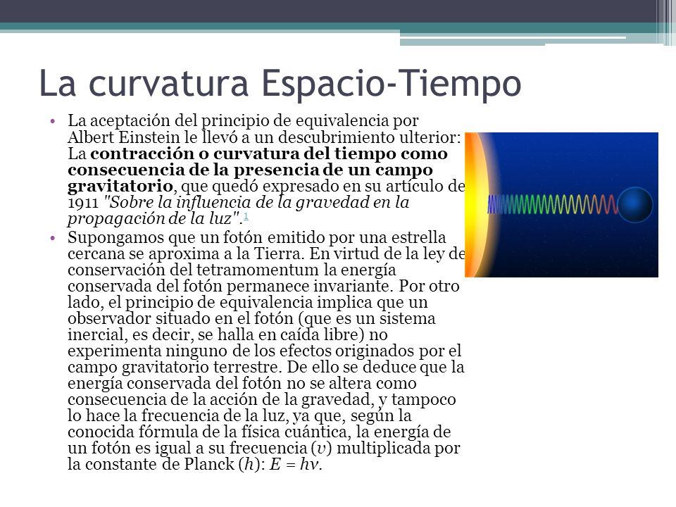 La curvatura Espacio-Tiempo La aceptación del principio de equivalencia por Albert Einstein le llevó a un descubrimiento ulterior: La contracción o cu