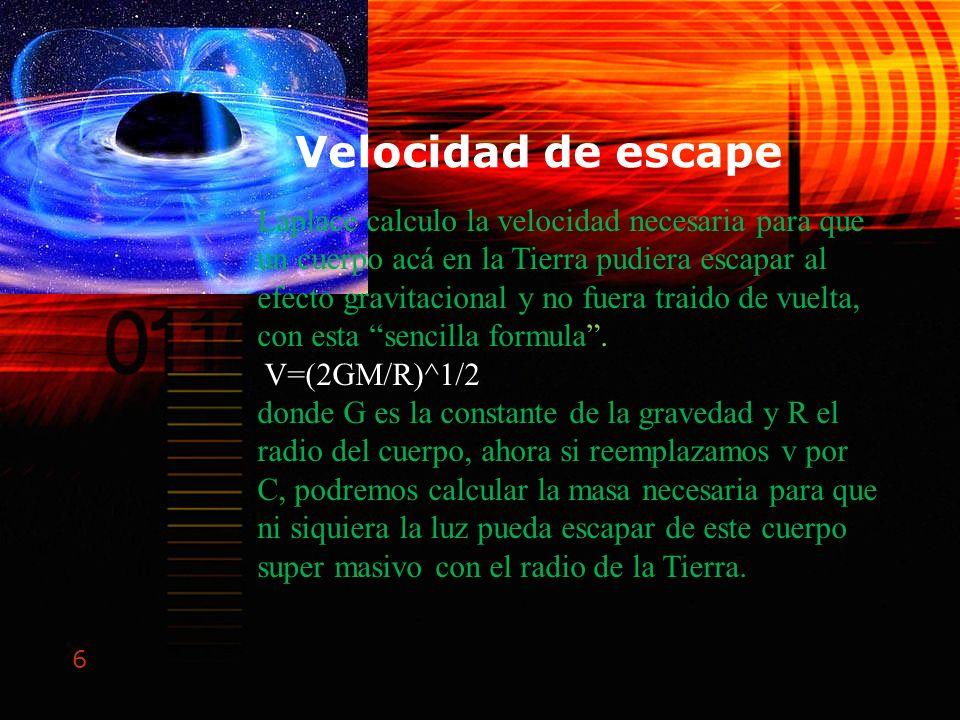 6 Velocidad de escape Laplace calculo la velocidad necesaria para que un cuerpo acá en la Tierra pudiera escapar al efecto gravitacional y no fuera tr