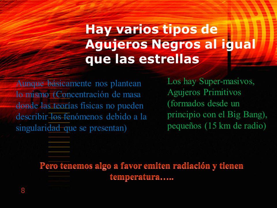 8 Hay varios tipos de Agujeros Negros al igual que las estrellas Los hay Super-masivos, Agujeros Primitivos (formados desde un principio con el Big Ba