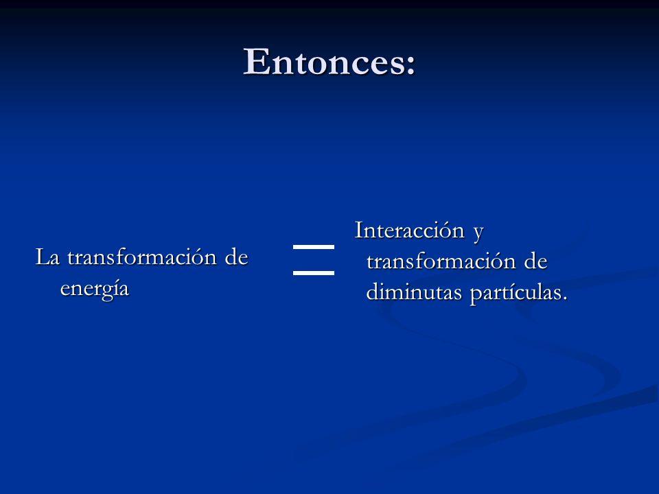 Entonces: La transformación de energía Interacción y transformación de diminutas partículas.
