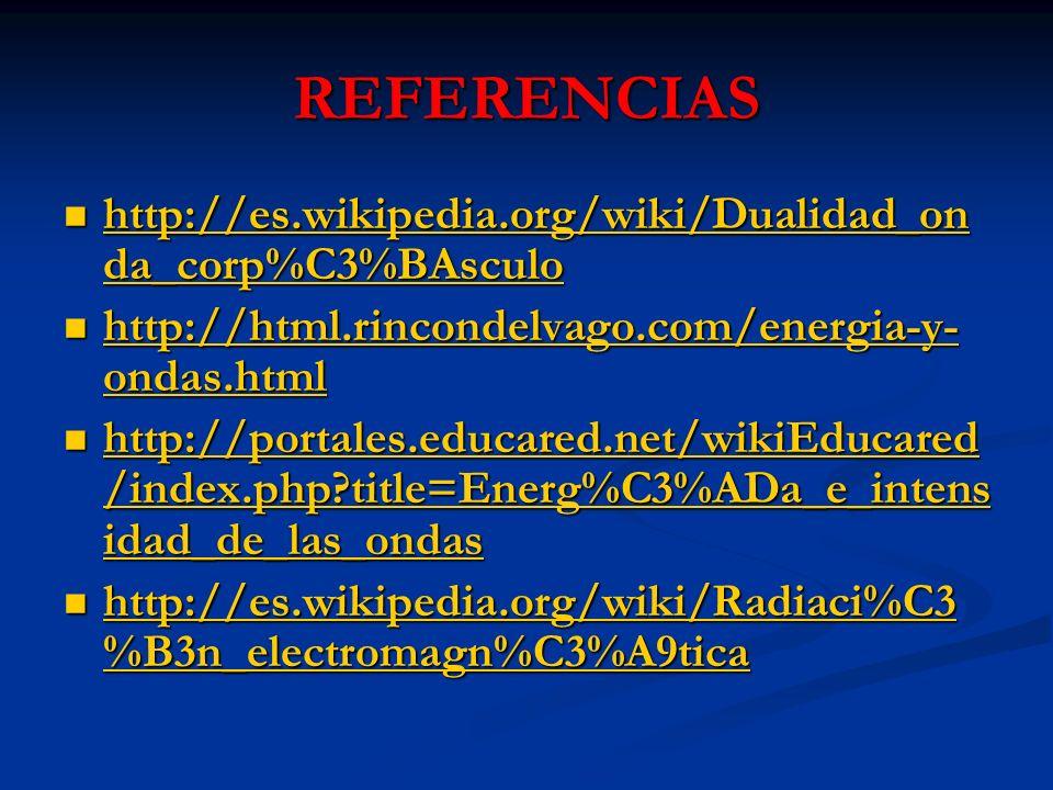 REFERENCIAS http://es.wikipedia.org/wiki/Dualidad_on da_corp%C3%BAsculo http://es.wikipedia.org/wiki/Dualidad_on da_corp%C3%BAsculo http://es.wikipedia.org/wiki/Dualidad_on da_corp%C3%BAsculo http://es.wikipedia.org/wiki/Dualidad_on da_corp%C3%BAsculo http://html.rincondelvago.com/energia-y- ondas.html http://html.rincondelvago.com/energia-y- ondas.html http://html.rincondelvago.com/energia-y- ondas.html http://html.rincondelvago.com/energia-y- ondas.html http://portales.educared.net/wikiEducared /index.php?title=Energ%C3%ADa_e_intens idad_de_las_ondas http://portales.educared.net/wikiEducared /index.php?title=Energ%C3%ADa_e_intens idad_de_las_ondas http://portales.educared.net/wikiEducared /index.php?title=Energ%C3%ADa_e_intens idad_de_las_ondas http://portales.educared.net/wikiEducared /index.php?title=Energ%C3%ADa_e_intens idad_de_las_ondas http://es.wikipedia.org/wiki/Radiaci%C3 %B3n_electromagn%C3%A9tica http://es.wikipedia.org/wiki/Radiaci%C3 %B3n_electromagn%C3%A9tica http://es.wikipedia.org/wiki/Radiaci%C3 %B3n_electromagn%C3%A9tica http://es.wikipedia.org/wiki/Radiaci%C3 %B3n_electromagn%C3%A9tica
