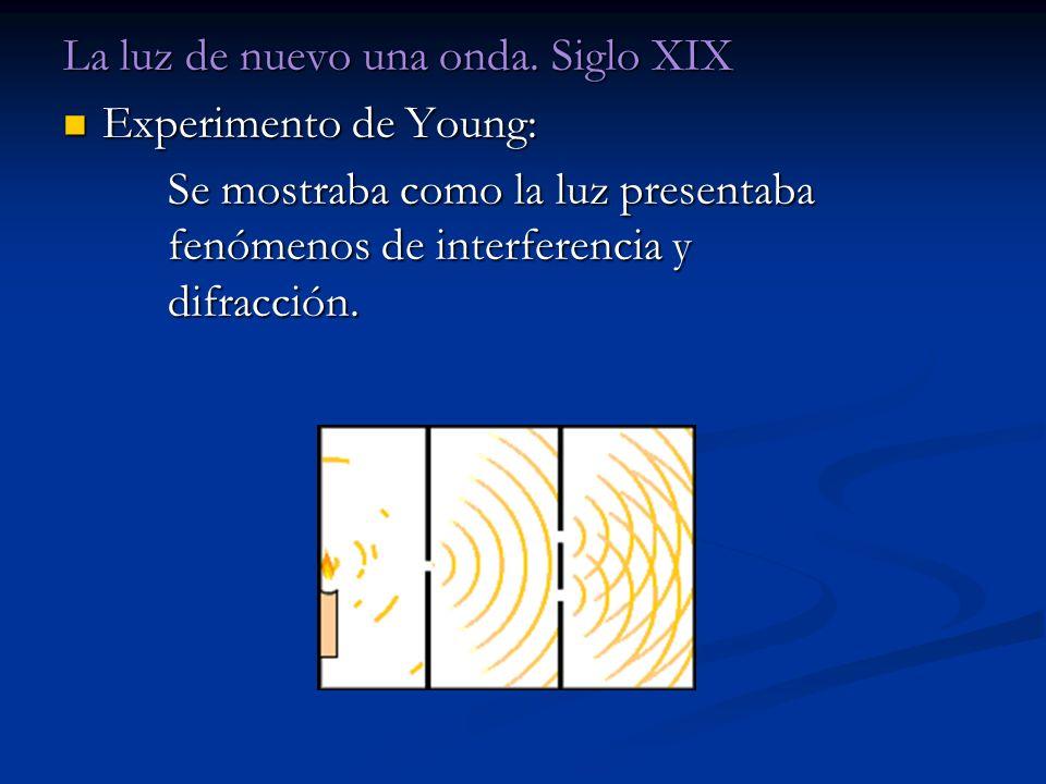 La luz de nuevo una onda. Siglo XIX Experimento de Young: Experimento de Young: Se mostraba como la luz presentaba fenómenos de interferencia y difrac