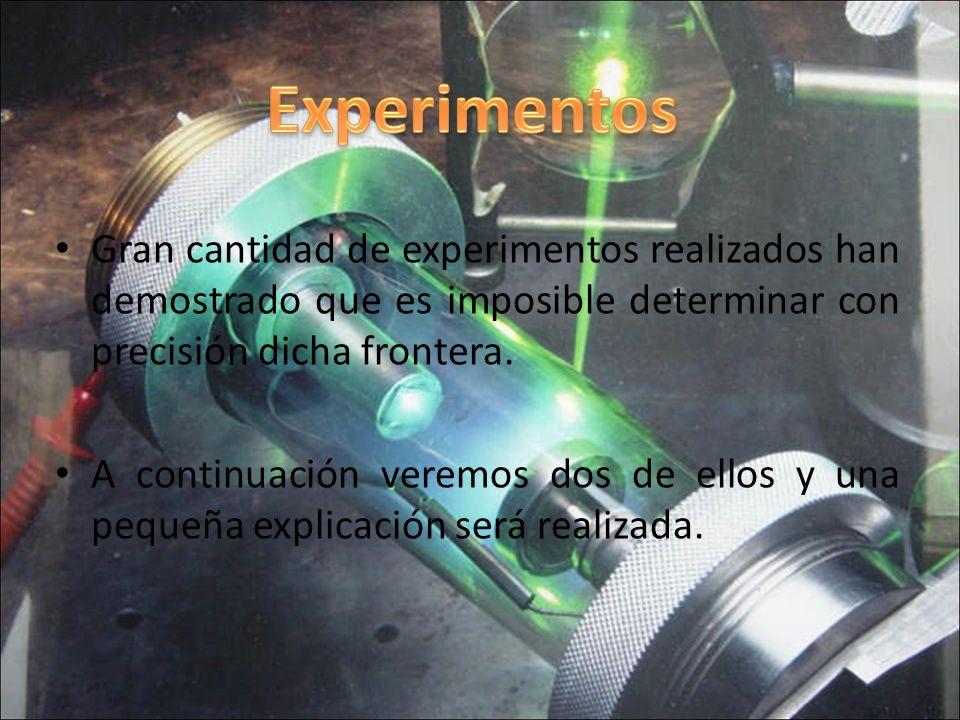 Gran cantidad de experimentos realizados han demostrado que es imposible determinar con precisión dicha frontera.