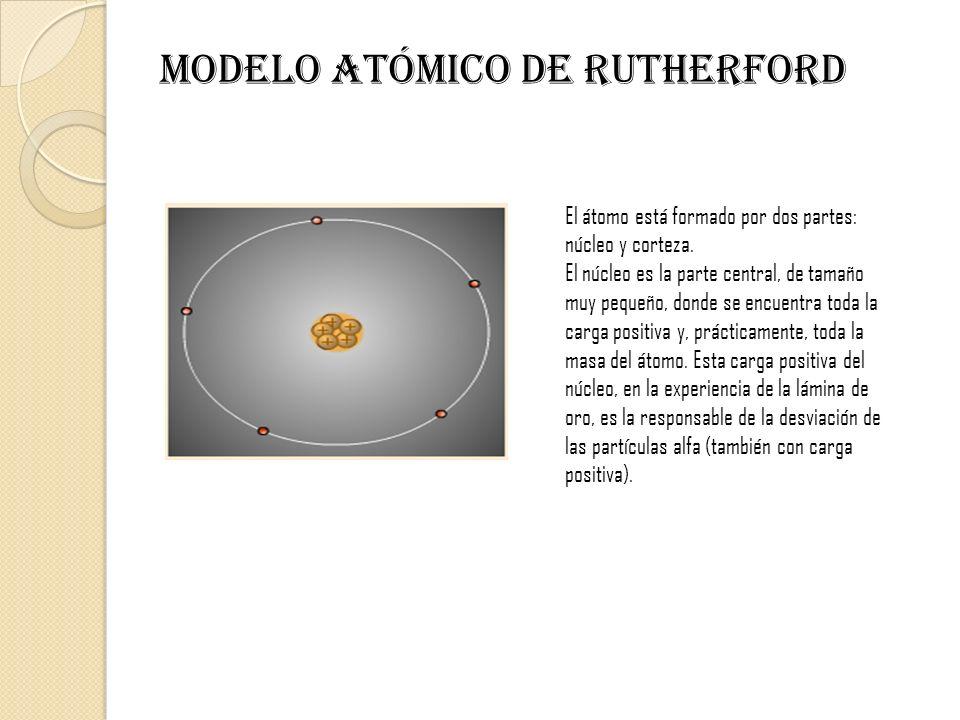 MODELO ATÓMICO DE Rutherford El átomo está formado por dos partes: núcleo y corteza. El núcleo es la parte central, de tamaño muy pequeño, donde se en