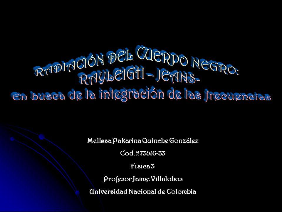 Melissa Pakarina Quinche González Cod. 273516-33 Fisica 3 Profesor Jaime Villalobos Universidad Nacional de Colombia