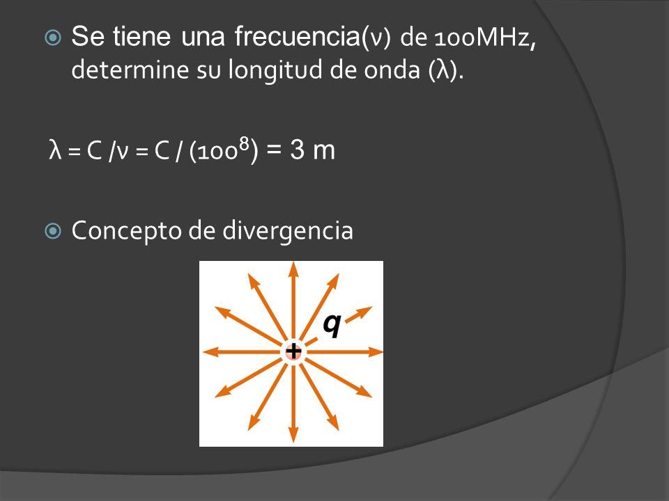 Se tiene una frecuencia( ν) de 100MHz, determine su longitud de onda (λ).