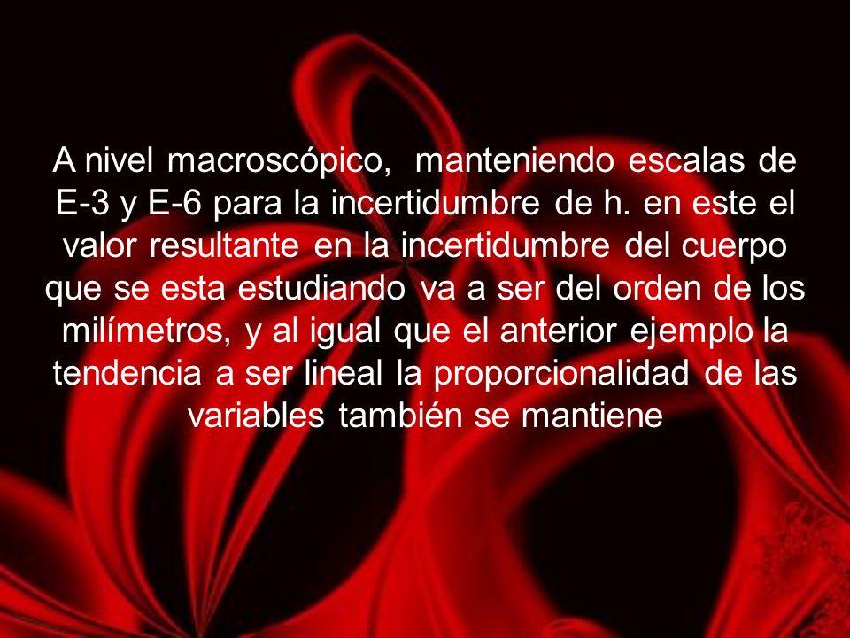 A nivel macroscópico, manteniendo escalas de E-3 y E-6 para la incertidumbre de h. en este el valor resultante en la incertidumbre del cuerpo que se e