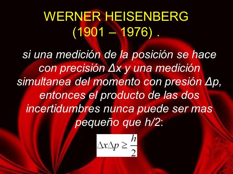 WERNER HEISENBERG (1901 – 1976). si una medición de la posición se hace con precisión Δx y una medición simultanea del momento con presión Δp, entonce