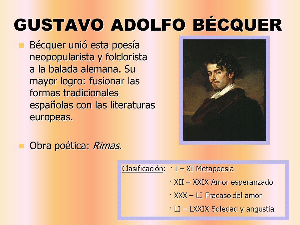 GUSTAVO ADOLFO BÉCQUER Bécquer unió esta poesía neopopularista y folclorista a la balada alemana. Su mayor logro: fusionar las formas tradicionales es