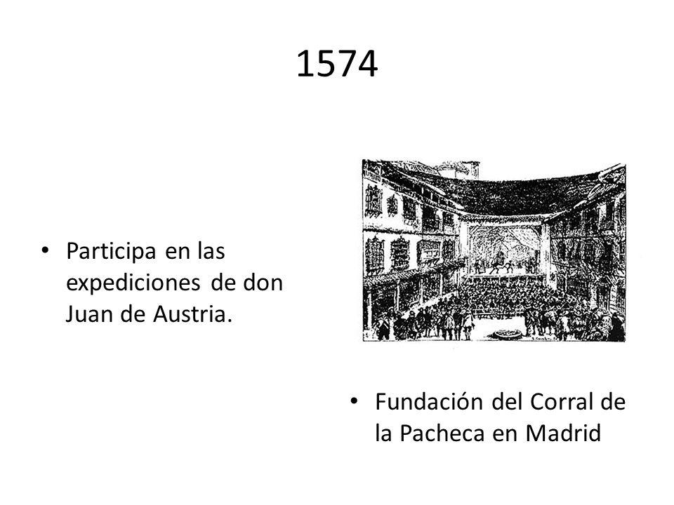 1571 Desde el esquife de la galera Marquesa, Cervantes combate en la batalla de Lepanto, donde recibe dos disparos en el pecho y uno en la mano izquie
