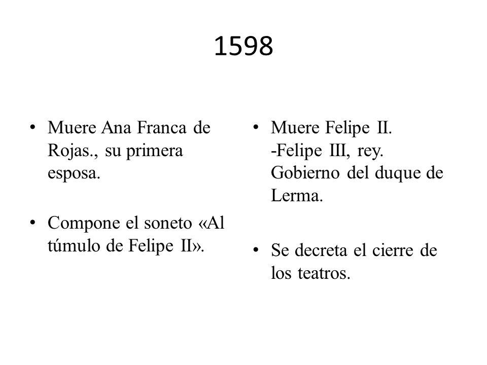 1592 Se compromete, mediante contrato, a entregarle a Rodrigo Osorio seis comedias. El corregidor de Écija lo encarcela, por venta ilegal de trigo, en