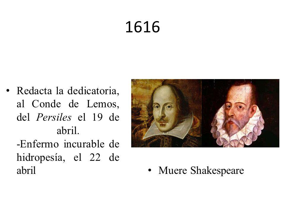 1614 Aparece el Viaje del Parnaso, en Madrid, por la viuda de Alonso Martín. Lope de Vega, Rimas sacras.