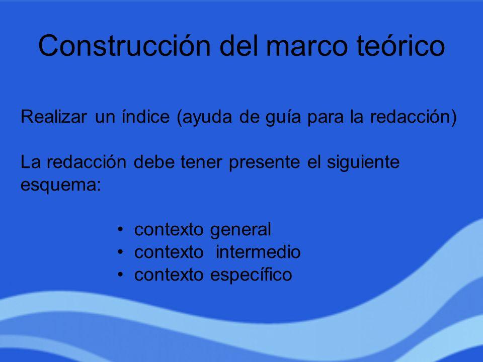 Construcción del marco teórico Realizar un índice (ayuda de guía para la redacción) La redacción debe tener presente el siguiente esquema: contexto ge