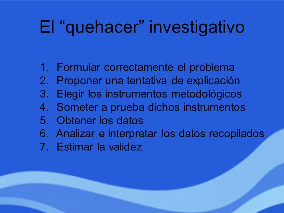 El quehacer investigativo 1. Formular correctamente el problema 2. Proponer una tentativa de explicación 3. Elegir los instrumentos metodológicos 4. S