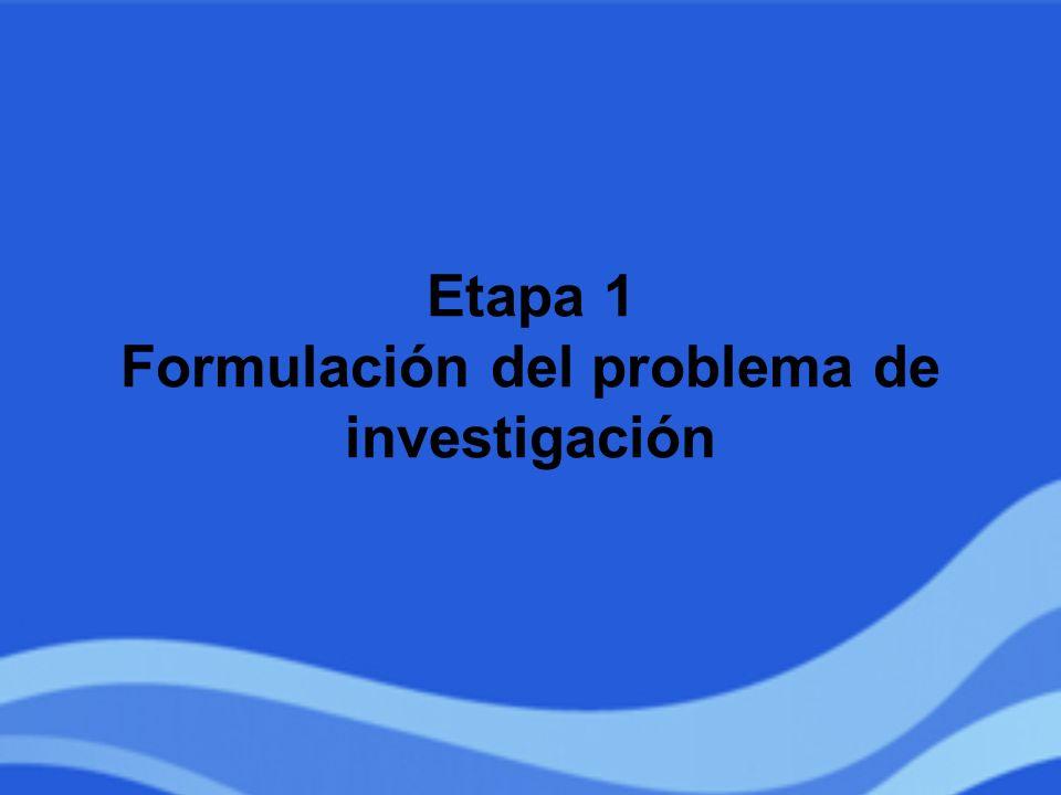 Etapa 1 Formulación del problema de investigación