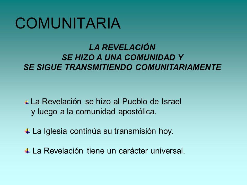 LA REVELACIÓN SE HIZO A UNA COMUNIDAD Y SE SIGUE TRANSMITIENDO COMUNITARIAMENTE COMUNITARIA La Revelación se hizo al Pueblo de Israel y luego a la com