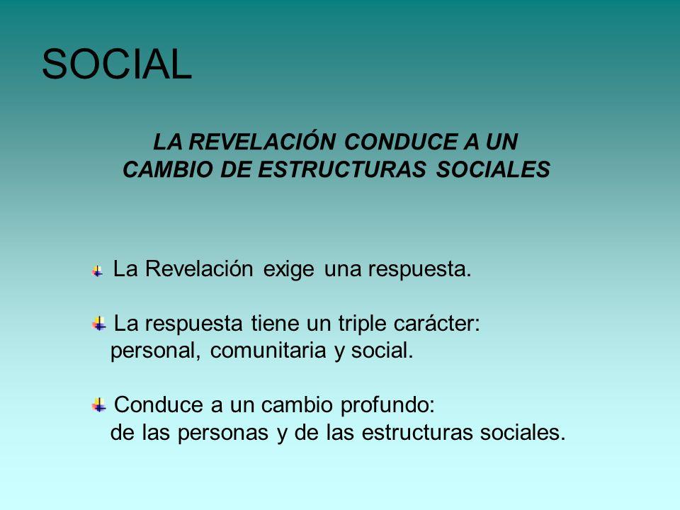 LA REVELACIÓN CONDUCE A UN CAMBIO DE ESTRUCTURAS SOCIALES SOCIAL La Revelación exige una respuesta. La respuesta tiene un triple carácter: personal, c